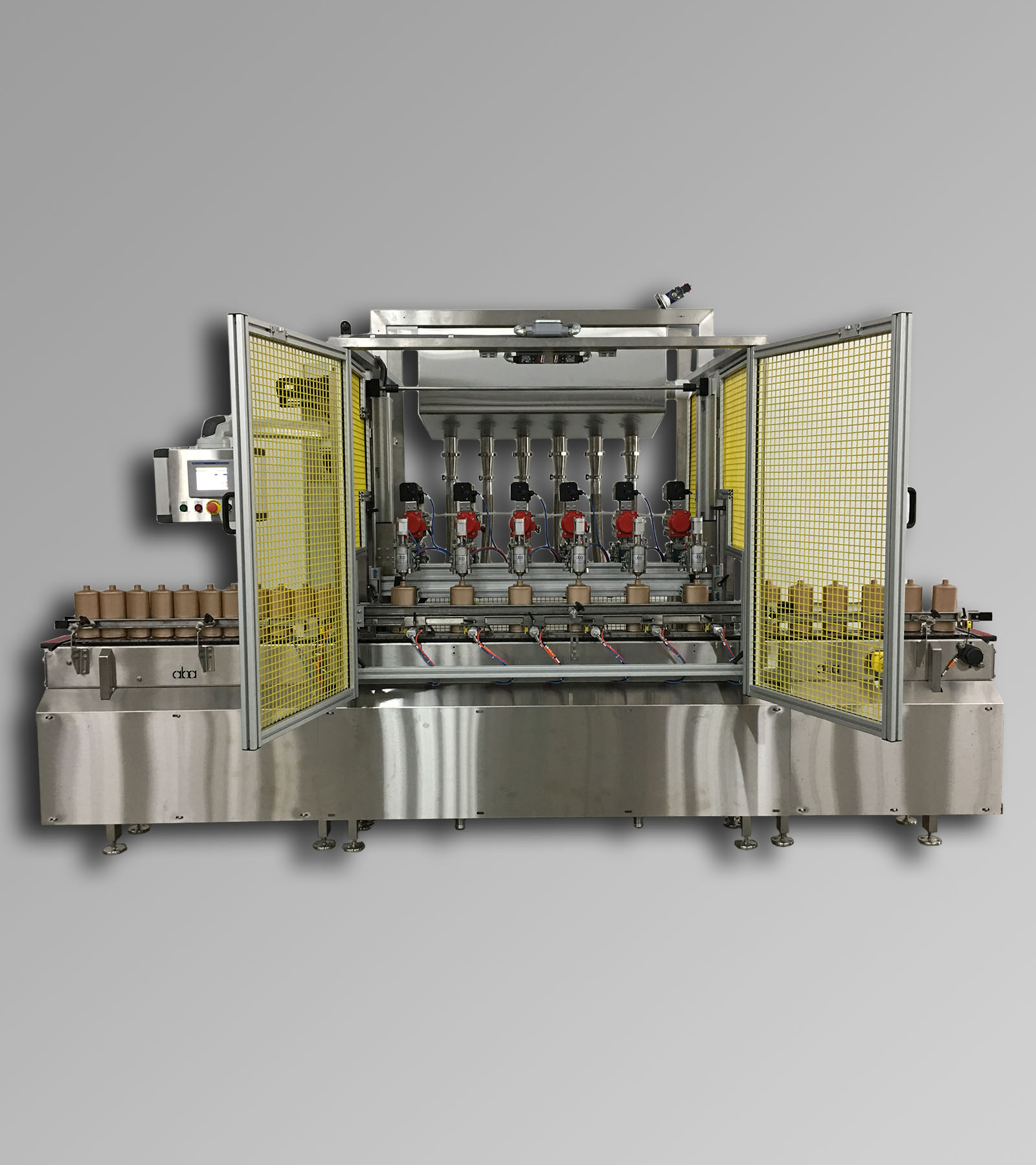 ABA-M394 - Top & Bottom Fill, Net Weight, 6 Head Filling Machine Shown Top Filling