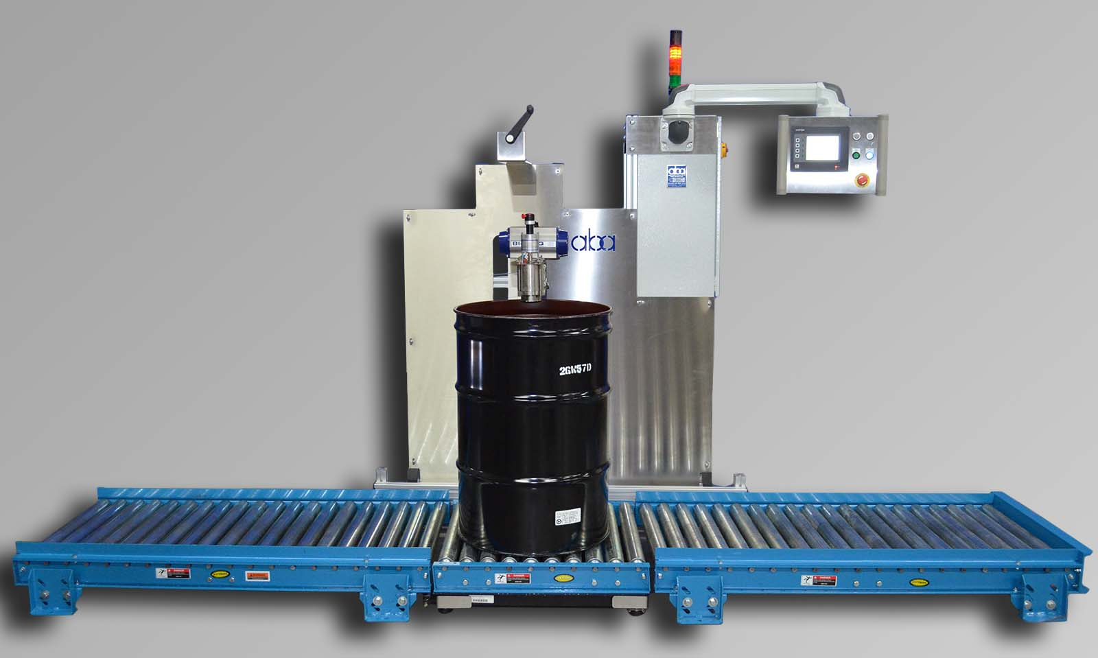 M335 Top fill, net weight, semi-automatic drum filling machine with gravity roller conveyor
