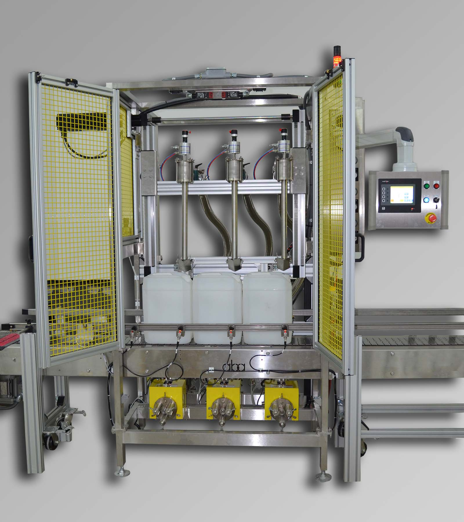 ABA-M339 3 Head Top & Bottom Fill Volumetric Filling Machine