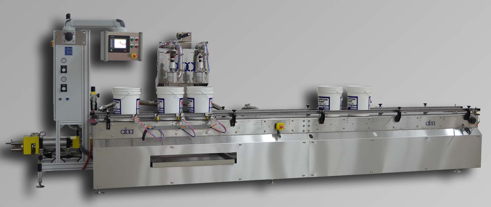 ABA-M342 top fill, volumetric 2 head machine with swing frame