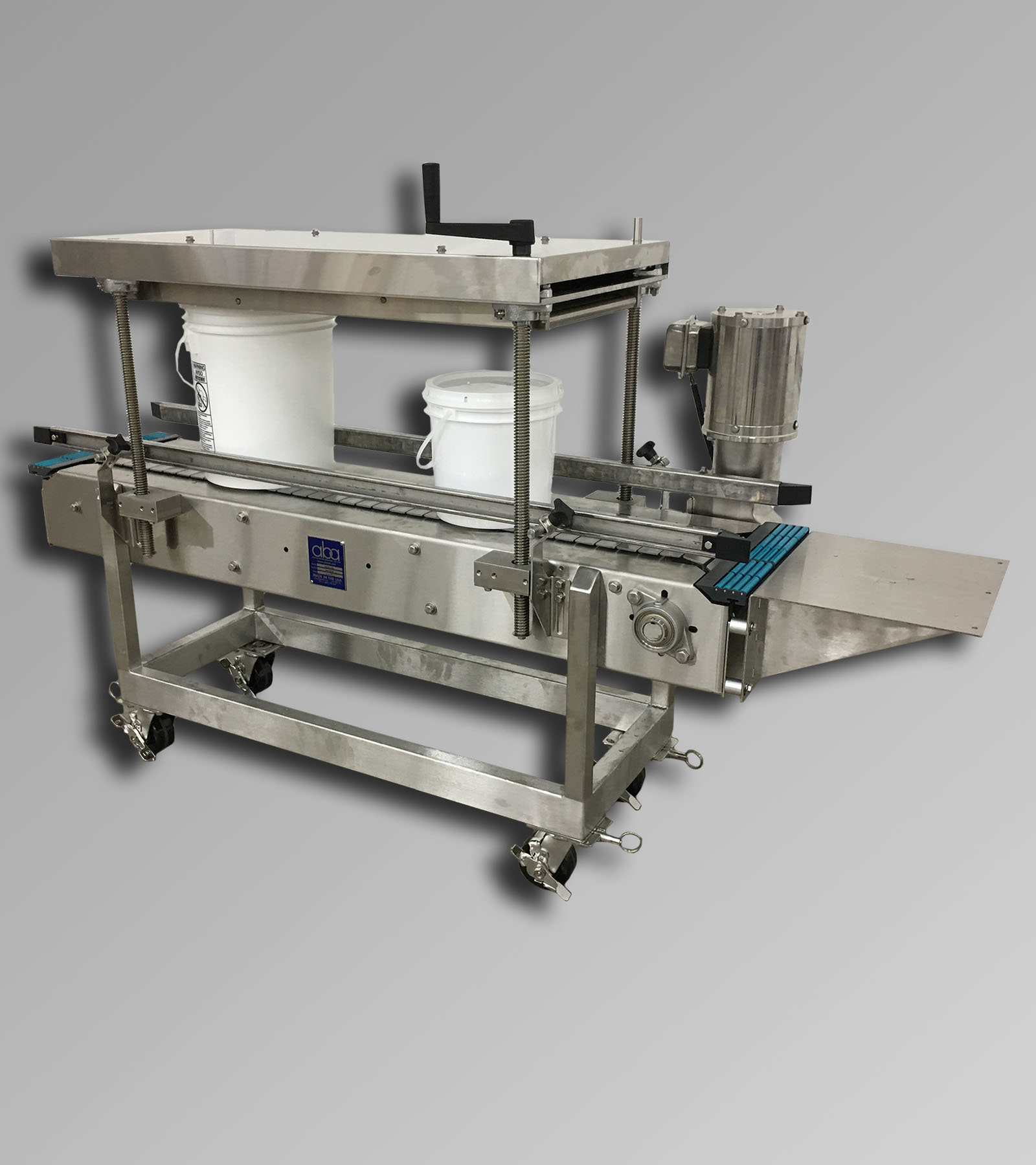 ABA-M438 - Stainless Steel 5 Gallon Roller Lid Press & Conveyor
